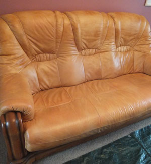 Faded Leather Sofa After